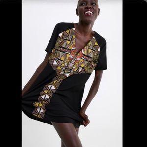 ZARA black shift dress with tribal print XL NWT